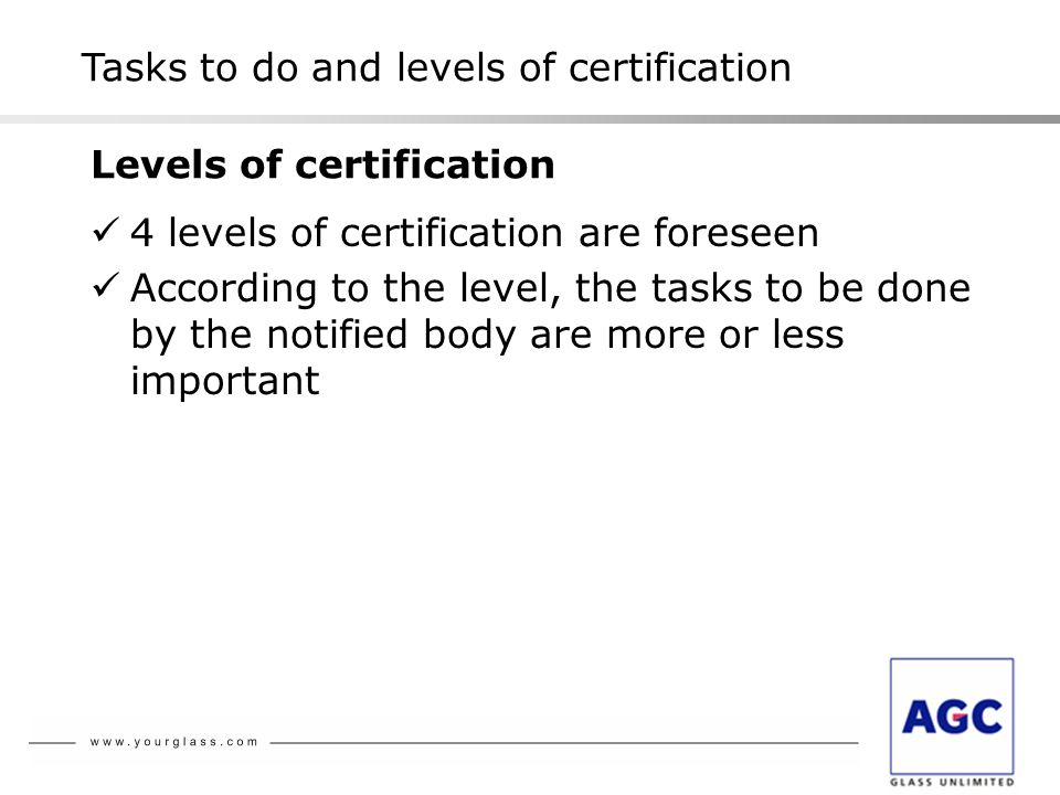 4 levels of certification are foreseen According to the level, the tasks to be done by the notified body are more or less important Tasks to do and levels of certification Levels of certification