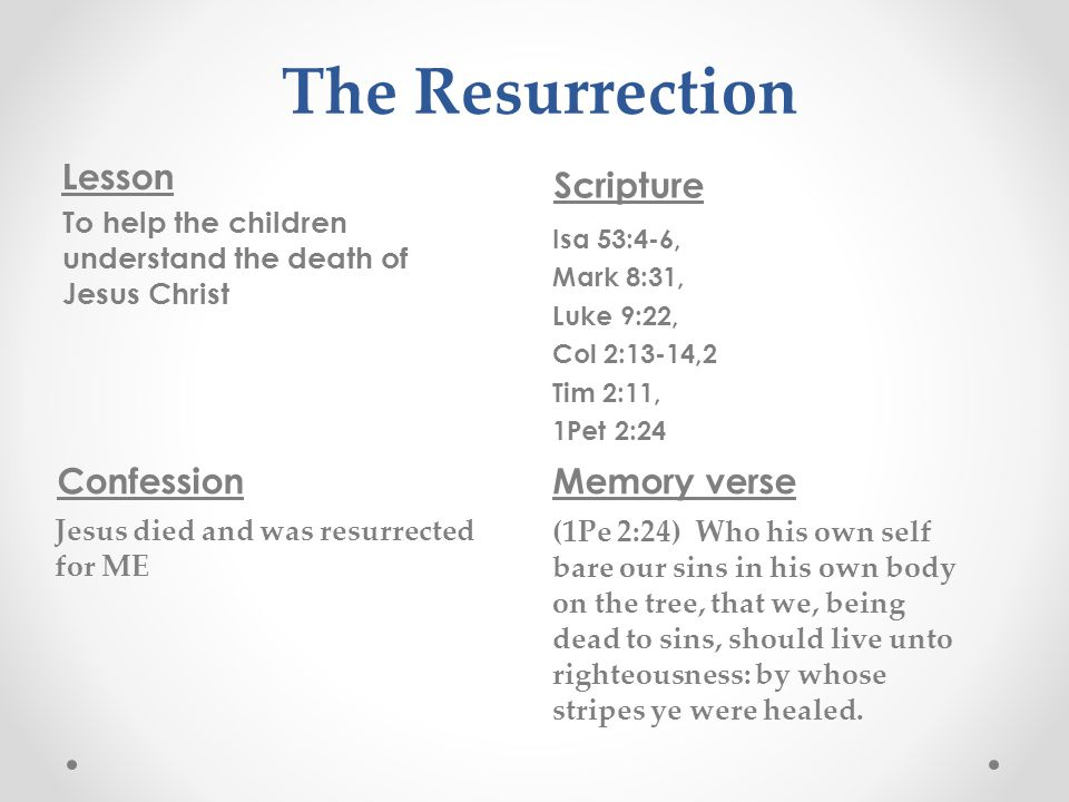 The Resurrection Lesson Scripture To help the children understand the death of Jesus Christ Isa 53:4-6, Mark 8:31, Luke 9:22, Col 2:13-14,2 Tim 2:11, 1Pet 2:24 Confession Jesus died and was resurrected for ME Memory verse (1Pe 2:24) Who his own self bare our sins in his own body on the tree, that we, being dead to sins, should live unto righteousness: by whose stripes ye were healed.