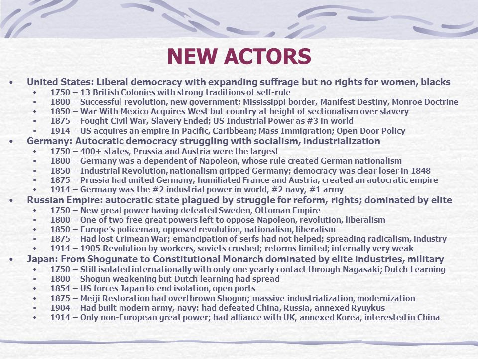 NEW ACTORS United States: Liberal democracy with expanding suffrage but no rights for women, blacks 1750 – 13 British Colonies with strong traditions