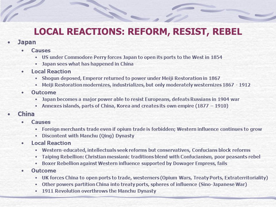 LOCAL REACTIONS: REFORM, RESIST, REBEL Japan Causes US under Commodore Perry forces Japan to open its ports to the West in 1854 Japan sees what has ha