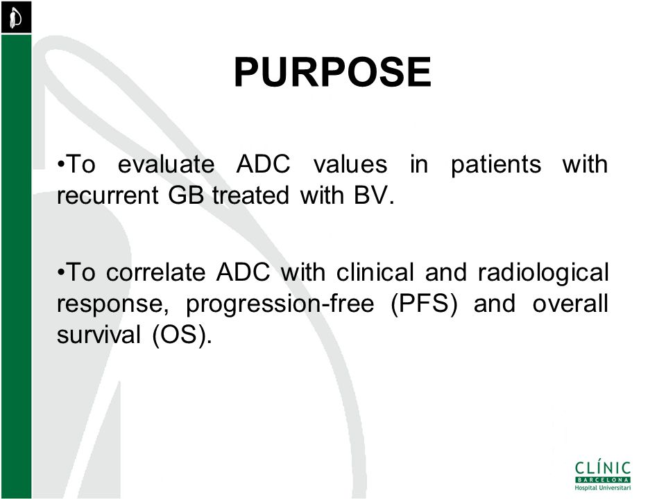 To evaluate ADC values in patients with recurrent GB treated with BV.