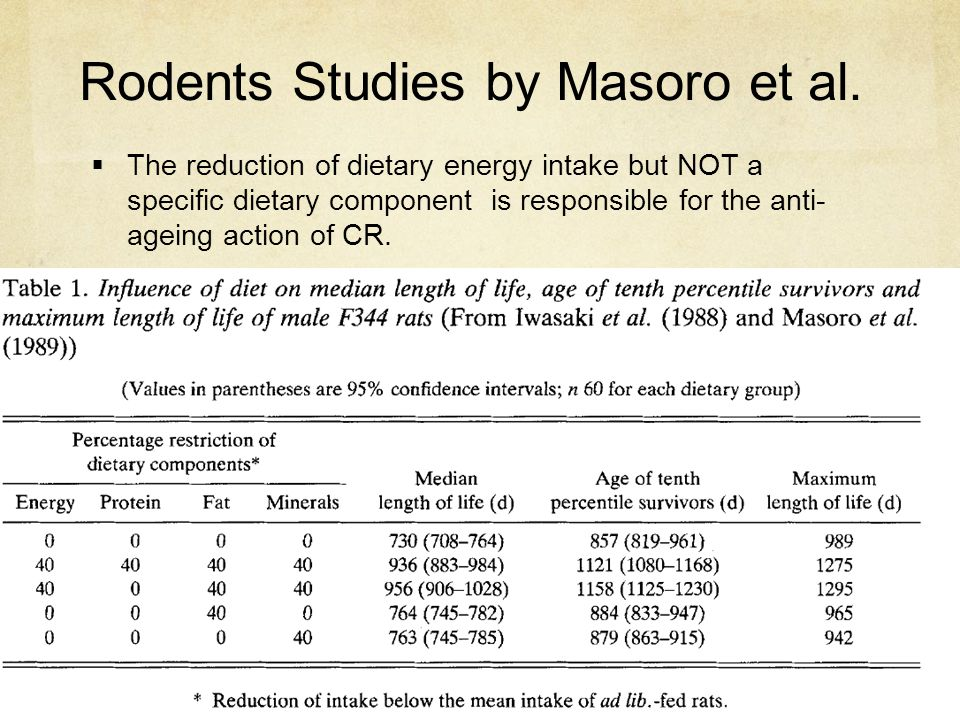 Rodents Studies by Masoro et al.