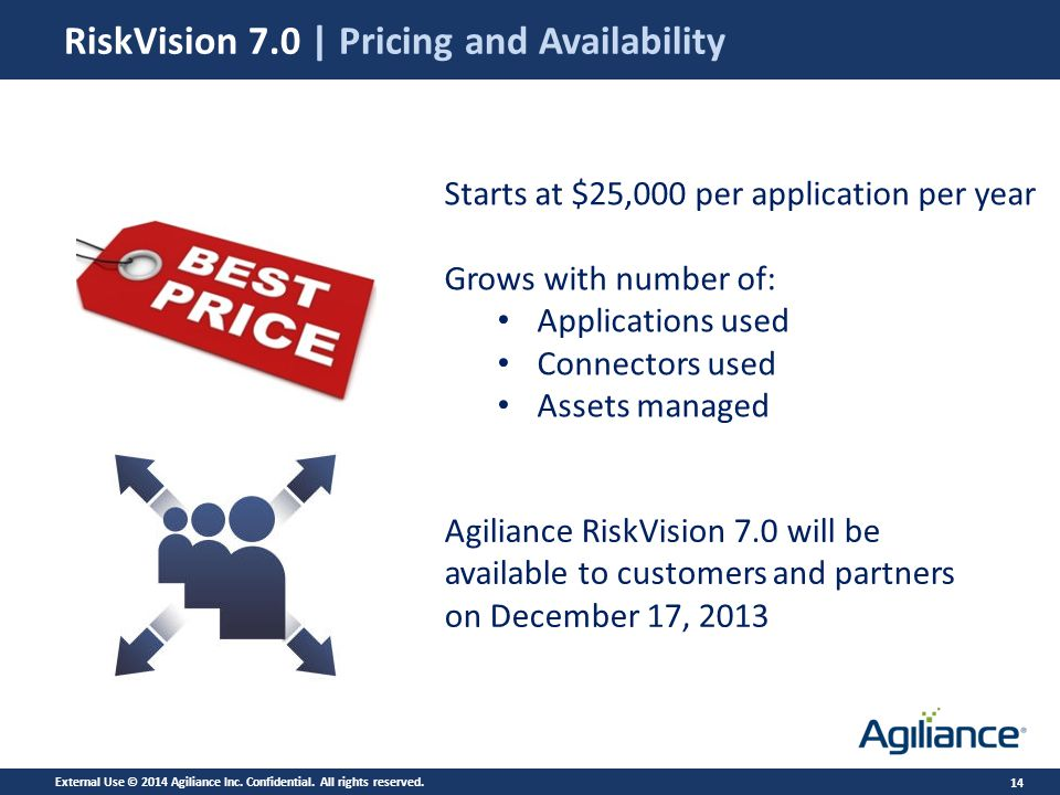 14 RiskVision 7.0 | Pricing and Availability Starts at $25,000 per application per year Grows with number of: Applications used Connectors used Assets managed Agiliance RiskVision 7.0 will be available to customers and partners on December 17, 2013 External Use © 2014 Agiliance Inc.