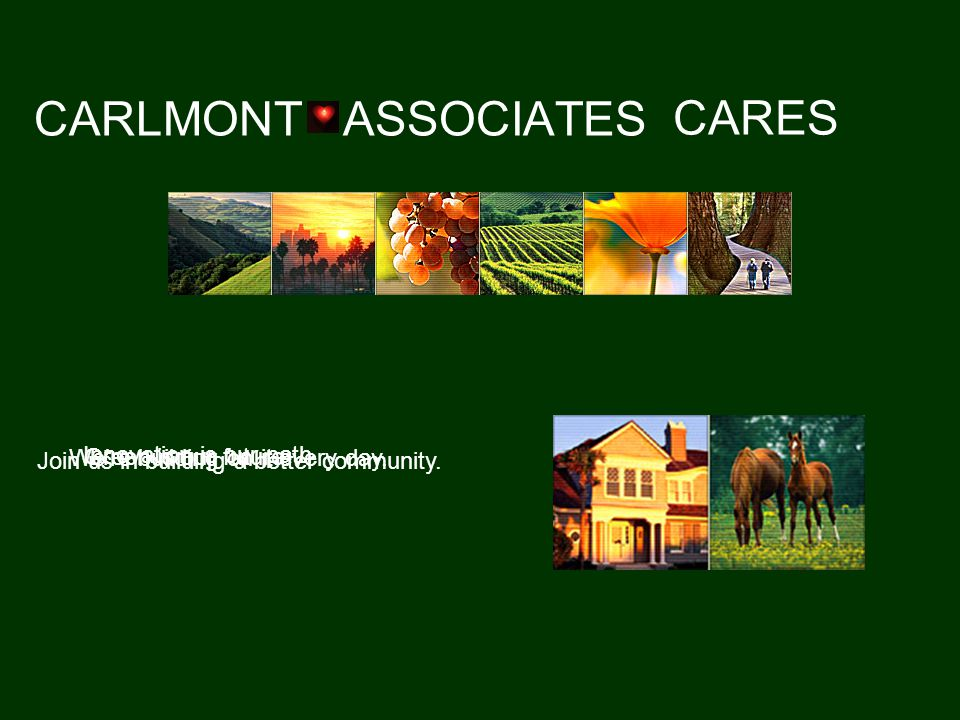 CARLMONT ASSOCIATES CARES Green is our future. We're building on it every day.