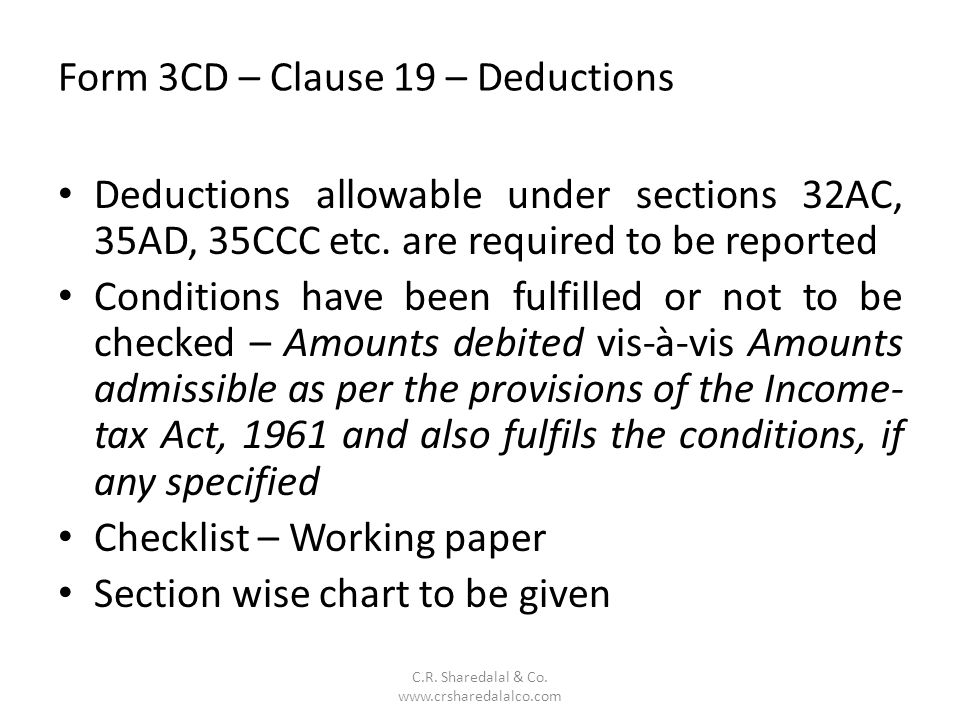 Form 3CD – Clause 19 – Deductions C.R.Sharedalal & Co.