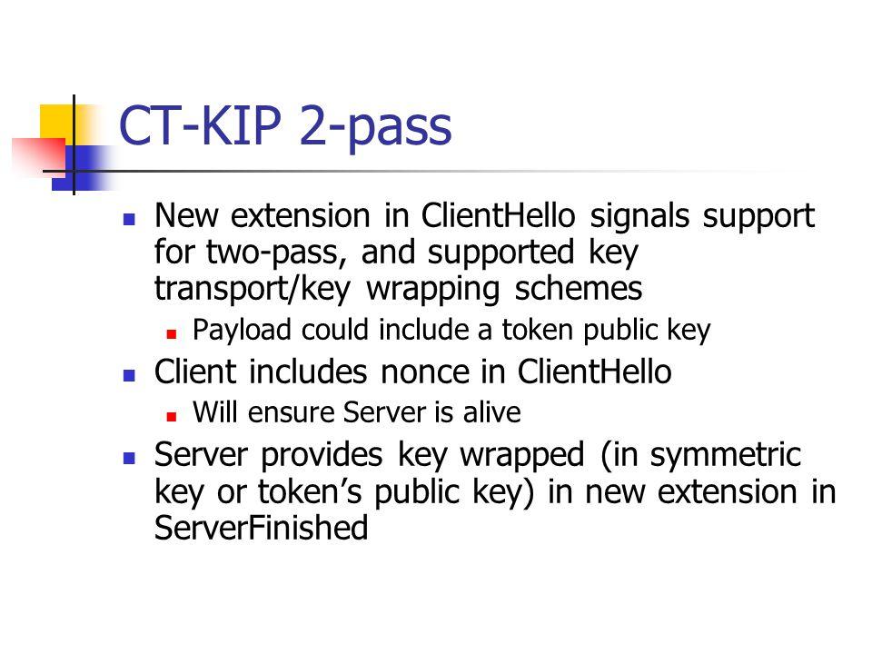 CT-KIP 1-pass CT-KIP server CT-KIP client Client Hello Server Hello Client Nonce Server Finished