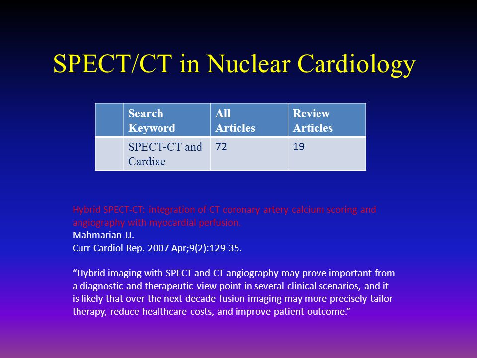 SPECT/CT in Nuclear Cardiology Search Keyword All Articles Review Articles SPECT-CT and Cardiac 7219 Hybrid SPECT-CT: integration of CT coronary arter