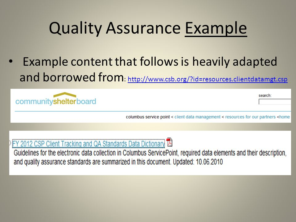 Quality Assurance Example Example content that follows is heavily adapted and borrowed from : http://www.csb.org/ id=resources.clientdatamgt.csphttp://www.csb.org/ id=resources.clientdatamgt.csp