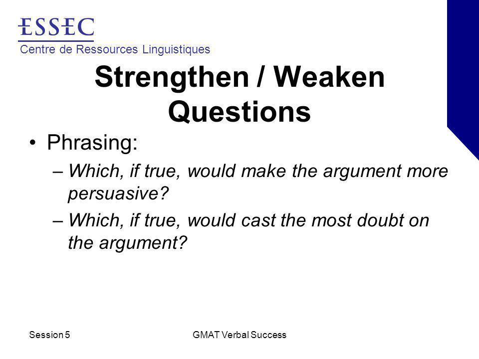 Centre de Ressources Linguistiques Session 5GMAT Verbal Success Strengthen / Weaken Questions Phrasing: –Which, if true, would make the argument more persuasive.