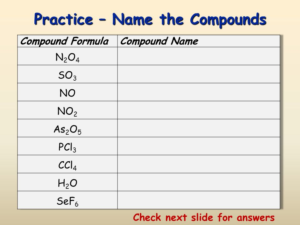 Answers – Write the Formula