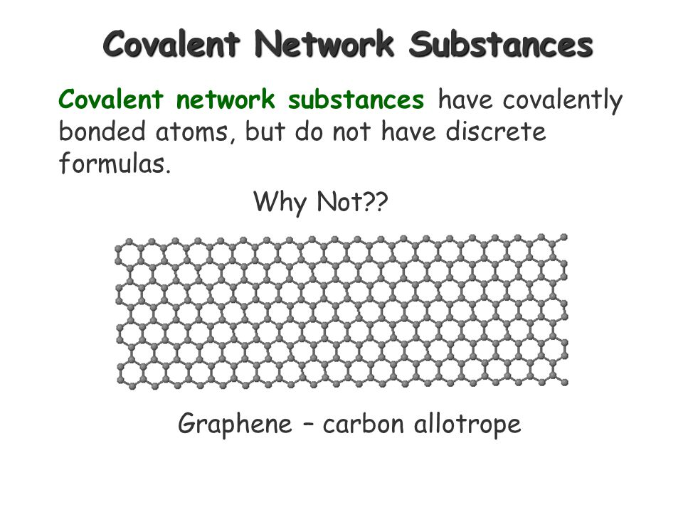 Molecules Two or more atoms of the same or different elements, covalently bonded together. Molecules are discrete structures, and their formulas repre