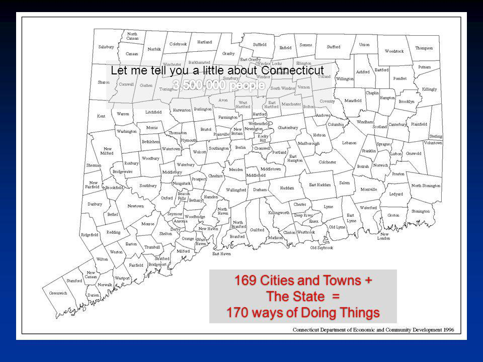 169 Cities and Towns + The State = 170 ways of Doing Things