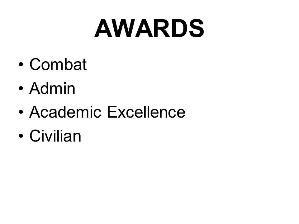 PROCEDURE COMBAT, ADMIN AND ACADEMIC EXELLENCE Submit recommendation to respective Major Service Chapters (Individual or by Class) Major Service Chapters shall conduct the selection process
