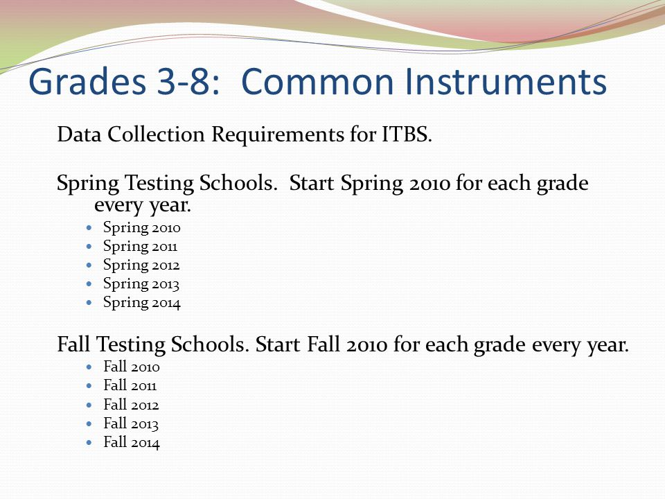 Grades 3-8: Common Instruments Data Collection Requirements for ITBS.