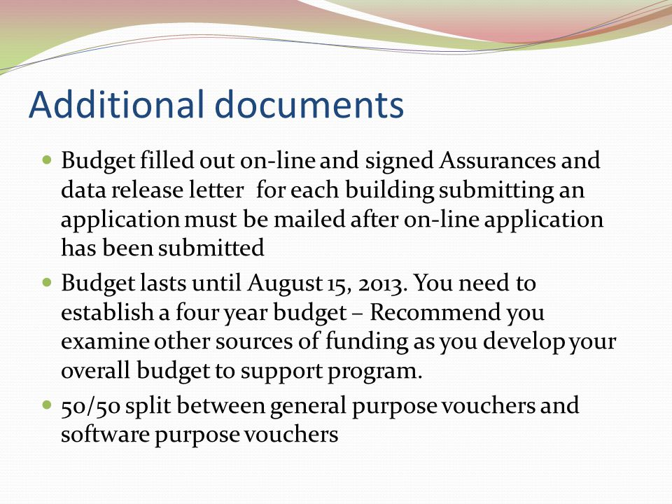 Additional Documents continued High Schools funded at 1.2 MS/elementary funded at.9 based on amount of money available to program.