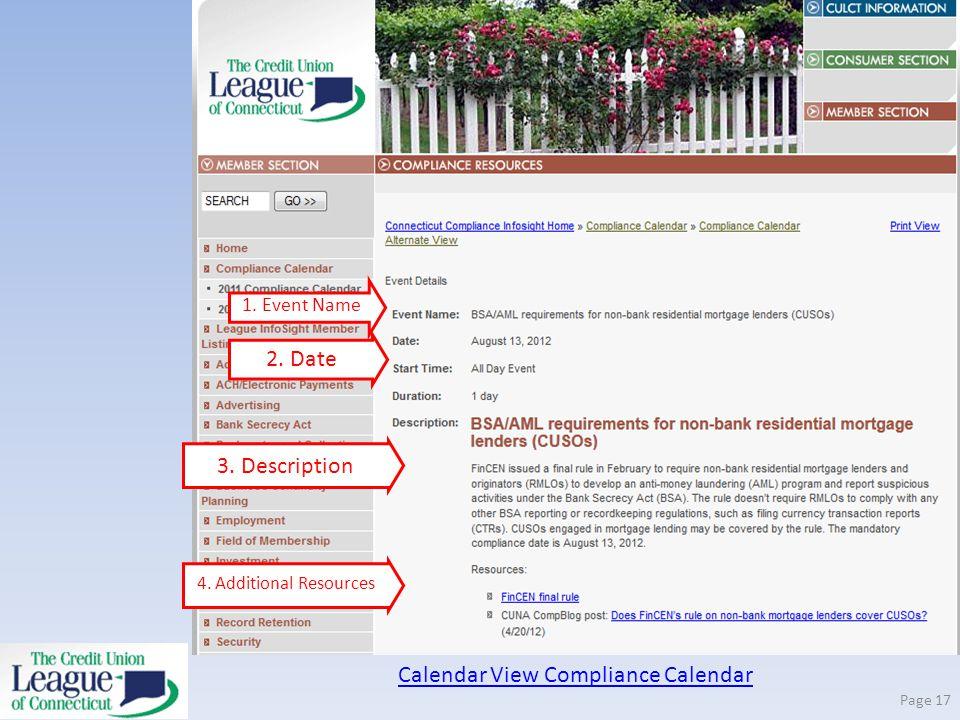 Calendar View Compliance Calendar Page 17 2. Date 1. Event Name 3. Description 4. Additional Resources