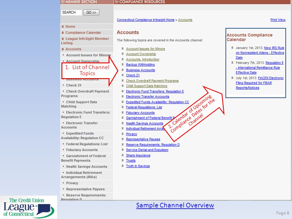 Sample Channel Overview Page 8 2. Calendar of Upcoming Compliance Dates for the Channel 1.