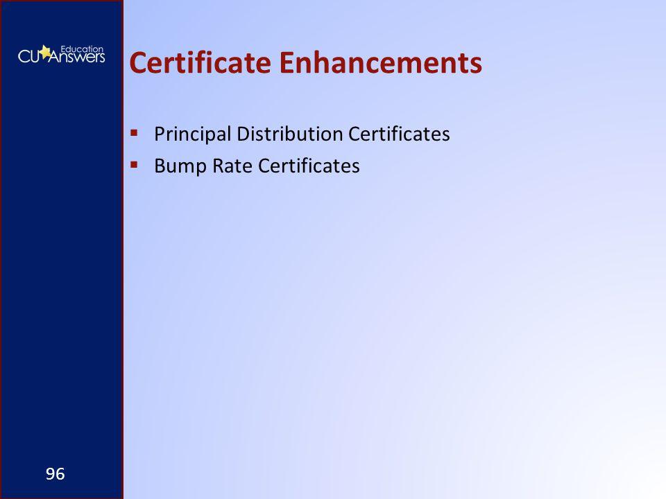 Certificate Enhancements  Principal Distribution Certificates  Bump Rate Certificates 96
