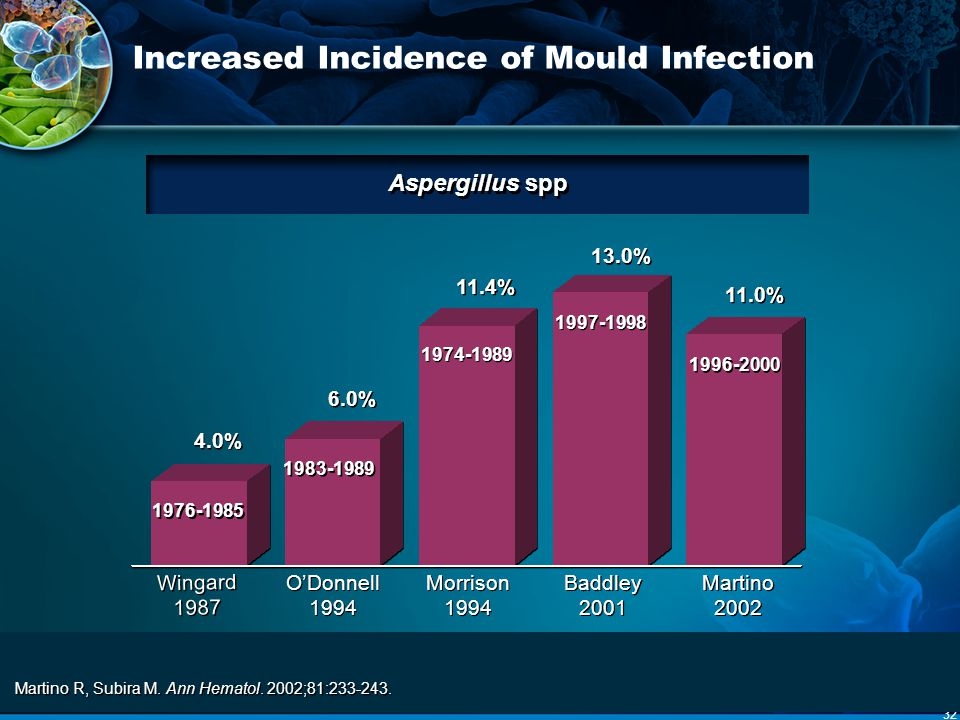 32 Wingard 1987 O'Donnell 1994 Morrison 1994 Baddley 2001 Baddley 2001 Martino 2002 Martino 2002 Increased Incidence of Mould Infection Martino R, Sub