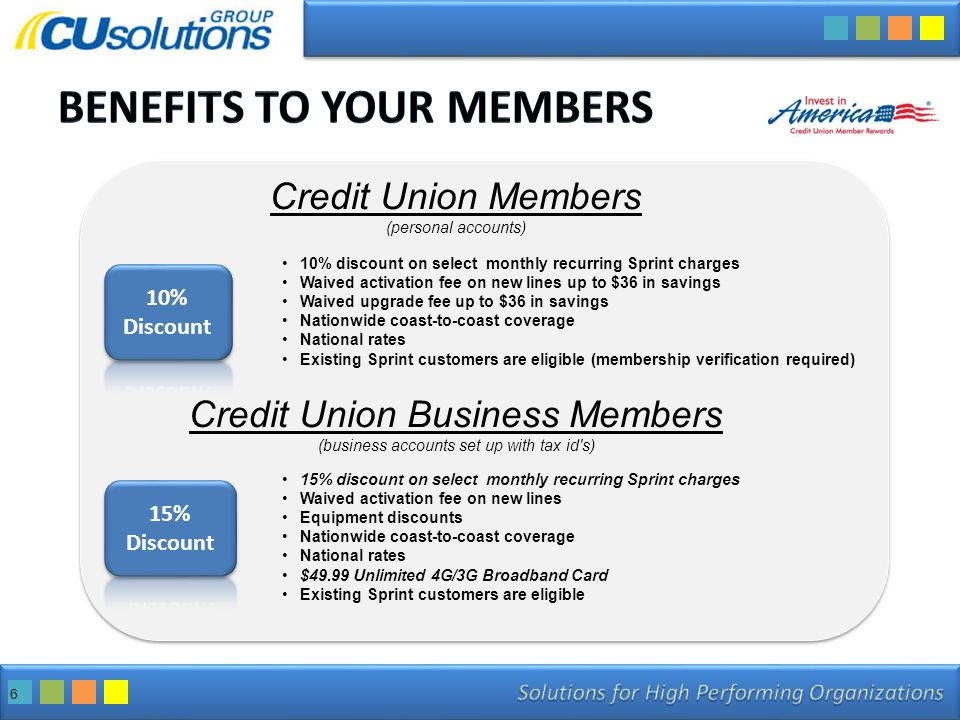 6 Credit Union Members (personal accounts) Credit Union Business Members (business accounts set up with tax id s) 10% discount on select monthly recurring Sprint charges Waived activation fee on new lines up to $36 in savings Waived upgrade fee up to $36 in savings Nationwide coast-to-coast coverage National rates Existing Sprint customers are eligible (membership verification required) 15% discount on select monthly recurring Sprint charges Waived activation fee on new lines Equipment discounts Nationwide coast-to-coast coverage National rates $49.99 Unlimited 4G/3G Broadband Card Existing Sprint customers are eligible