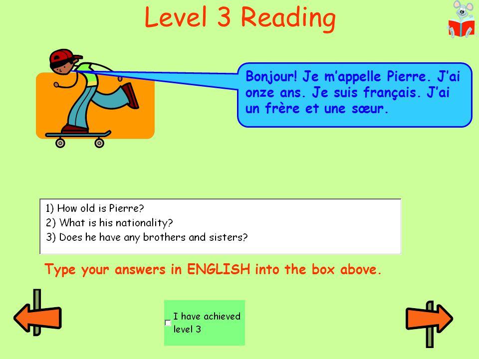 Level 3 Reading mais = but Bonjour! Je m'appelle Cécile. J'ai quatorze ans. J'habite à Paris en France mais je suis canadienne. Type your answers in E