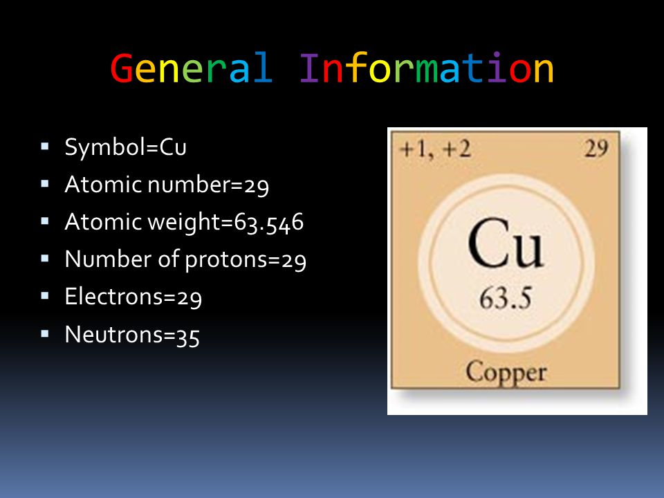 General InformationGeneral Information  Symbol=Cu  Atomic number=29  Atomic weight=63.546  Number of protons=29  Electrons=29  Neutrons=35