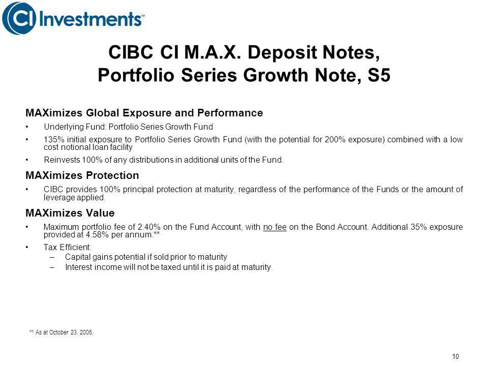10 CIBC CI M.A.X. Deposit Notes, Portfolio Series Growth Note, S5 MAXimizes Global Exposure and Performance Underlying Fund: Portfolio Series Growth F