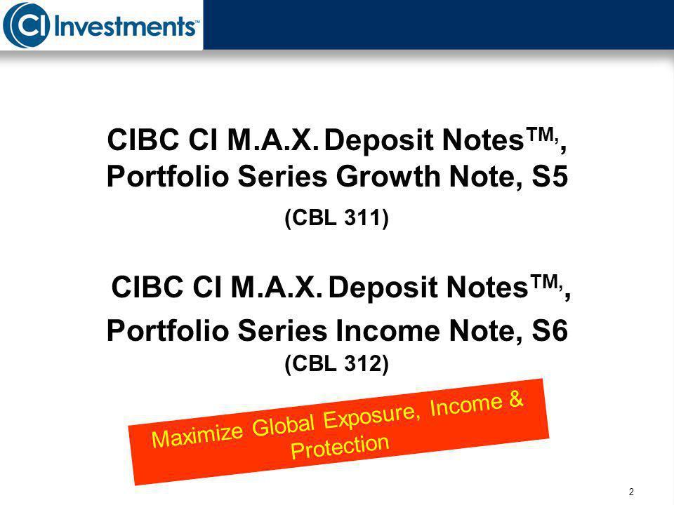 2 CIBC CI M.A.X. Deposit Notes TM,, Portfolio Series Growth Note, S5 (CBL 311) CIBC CI M.A.X. Deposit Notes TM,, Portfolio Series Income Note, S6 (CBL