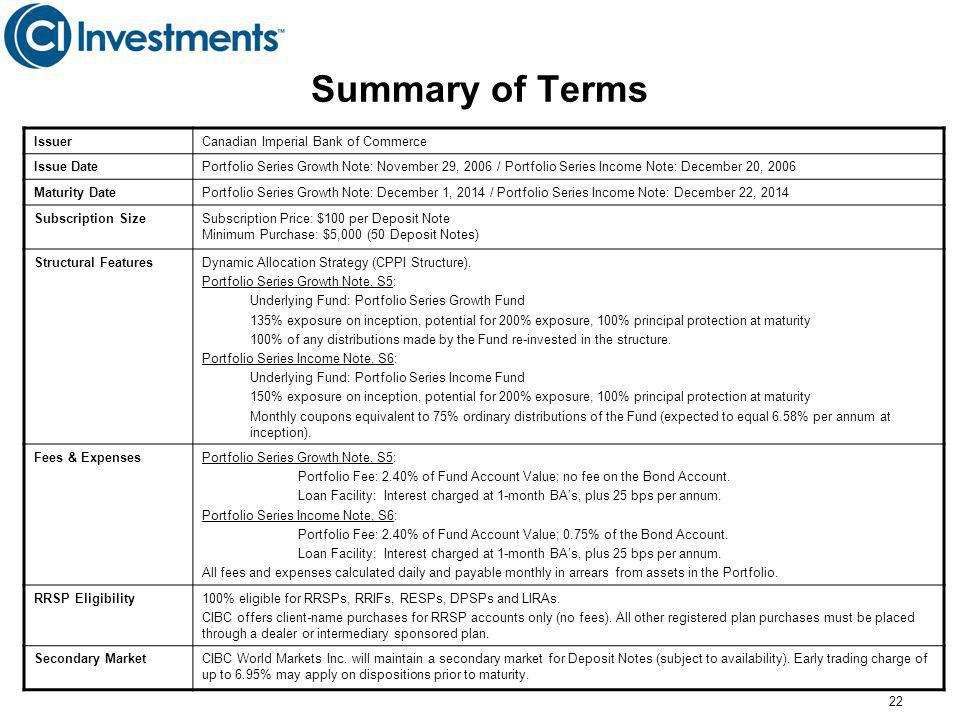 22 Summary of Terms IssuerCanadian Imperial Bank of Commerce Issue DatePortfolio Series Growth Note: November 29, 2006 / Portfolio Series Income Note: December 20, 2006 Maturity DatePortfolio Series Growth Note: December 1, 2014 / Portfolio Series Income Note: December 22, 2014 Subscription SizeSubscription Price: $100 per Deposit Note Minimum Purchase: $5,000 (50 Deposit Notes) Structural FeaturesDynamic Allocation Strategy (CPPI Structure).