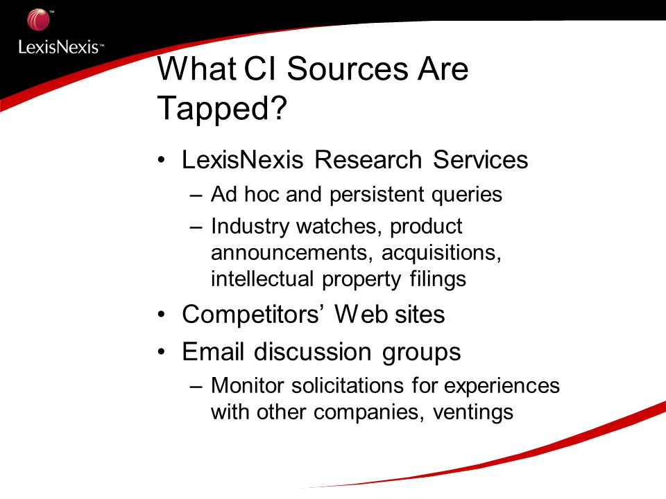 What CI Sources Are Tapped.