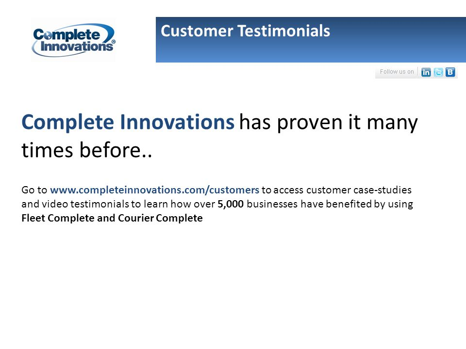 Complete Innovations has proven it many times before..