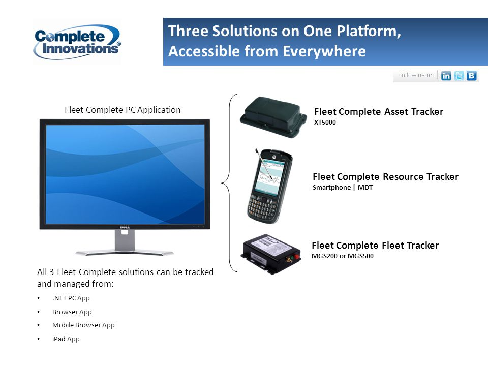 Three Solutions on One Platform, Accessible from Everywhere All 3 Fleet Complete solutions can be tracked and managed from:.NET PC App Browser App Mobile Browser App iPad App Fleet Complete PC Application Fleet Complete Resource Tracker Smartphone | MDT Fleet Complete Asset Tracker XT5000 Fleet Complete Fleet Tracker MGS200 or MGS500