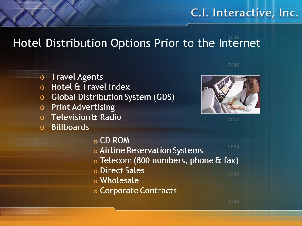 Hotel Distribution Options Prior to the Internet oTravel Agents oHotel & Travel Index oGlobal Distribution System (GDS) oPrint Advertising oTelevision & Radio oBillboards o o CD ROM o Airline Reservation Systems o Telecom (800 numbers, phone & fax) o Direct Sales o Wholesale o Corporate Contracts