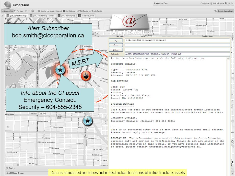 Alert E-Mail Alert Subscriber bob.smith@cicorporation.ca Data is simulated and does not reflect actual locations of infrastructure assets Info about the CI asset Emergency Contact: Security – 604-555-2345 bob.smith@cicorporation.ca ALERT