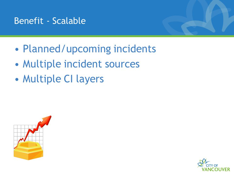 Benefit - Scalable Planned/upcoming incidents Multiple incident sources Multiple CI layers