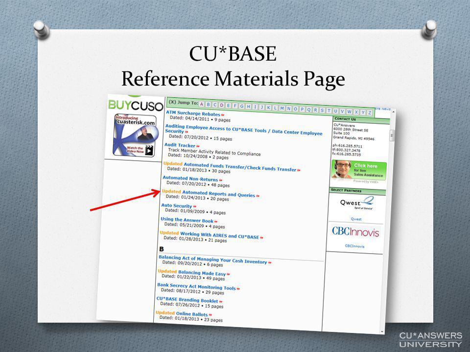 CU*BASE Reference Materials Page