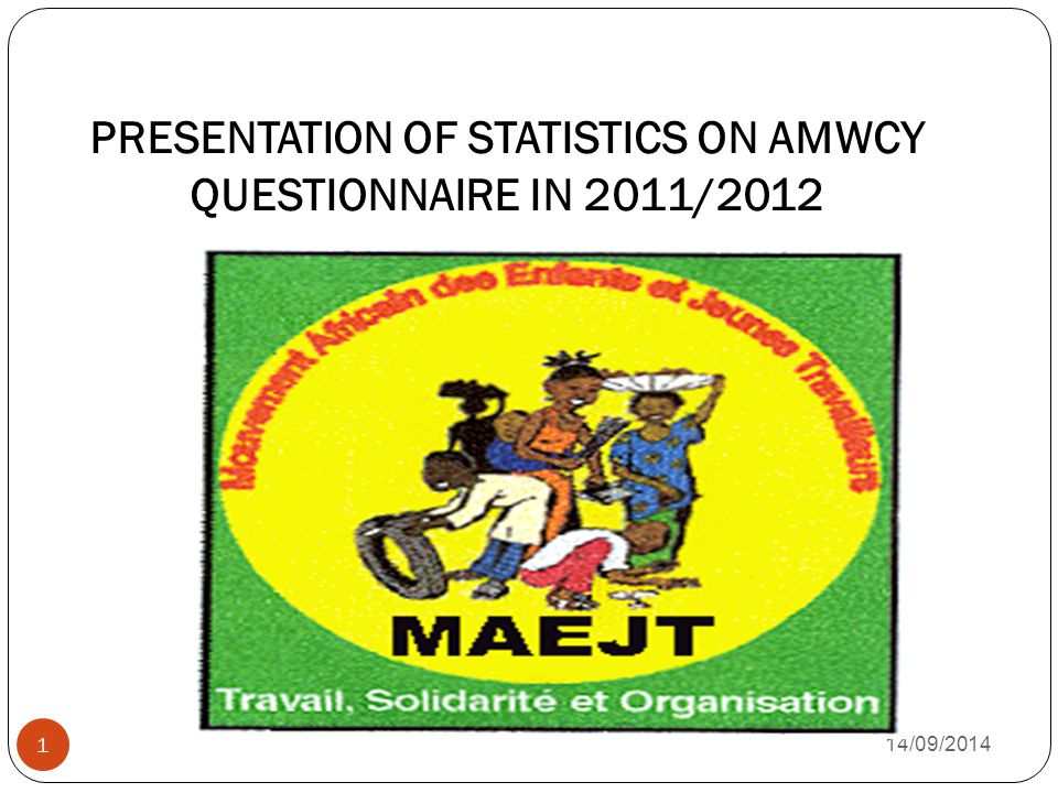 PRESENTATION OF STATISTICS ON AMWCY QUESTIONNAIRE IN 2011/ /09/2014 1