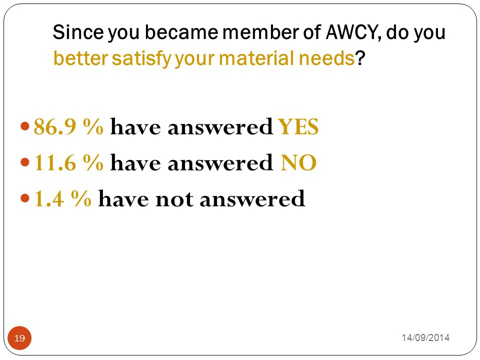Since you became member of AWCY, do you better satisfy your material needs? 14/09/2014 19 86.9 % have answered YES 11.6 % have answered NO 1.4 % have
