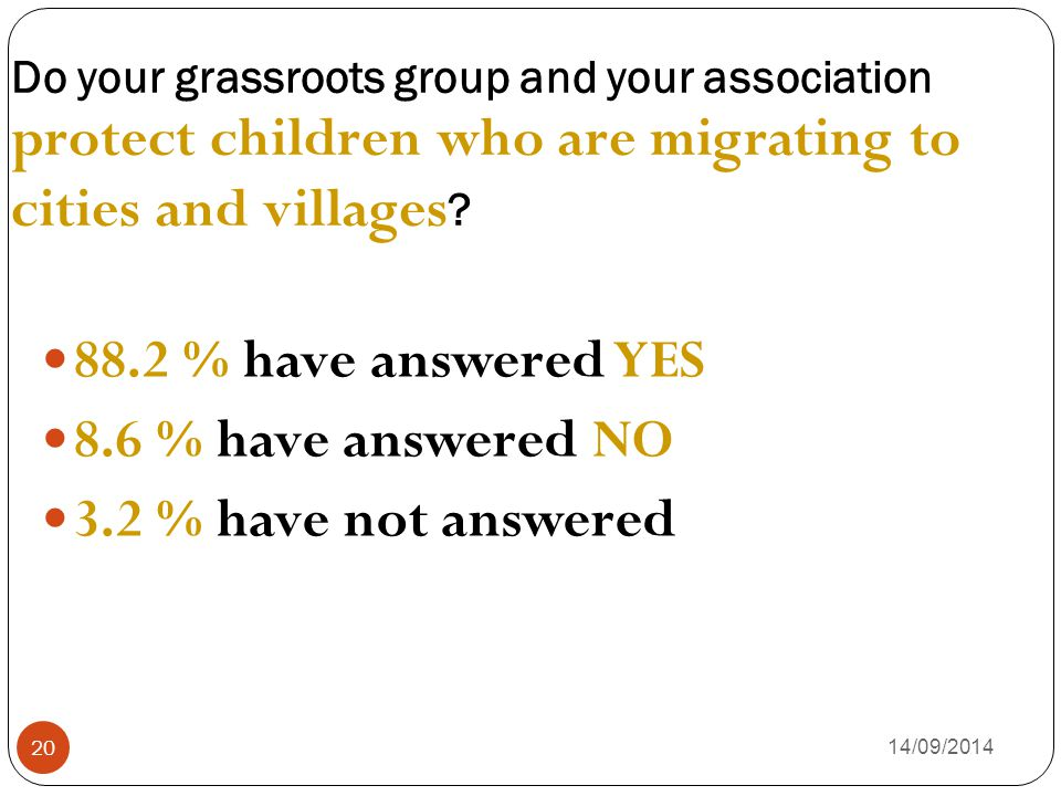 Do your grassroots group and your association protect children who are migrating to cities and villages ? 14/09/2014 20 88.2 % have answered YES 8.6 %