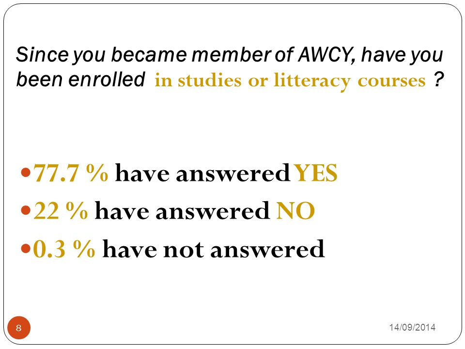Since you became member of AWCY, have you been enrolled in studies or litteracy courses ? 14/09/2014 8 77.7 % have answered YES 22 % have answered NO