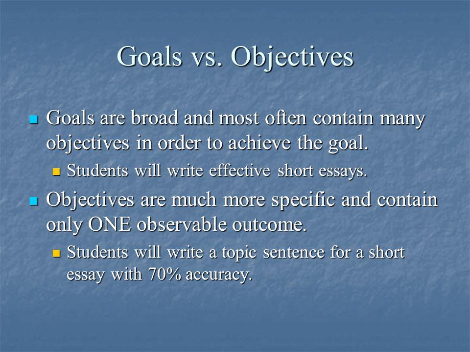 Goals vs.