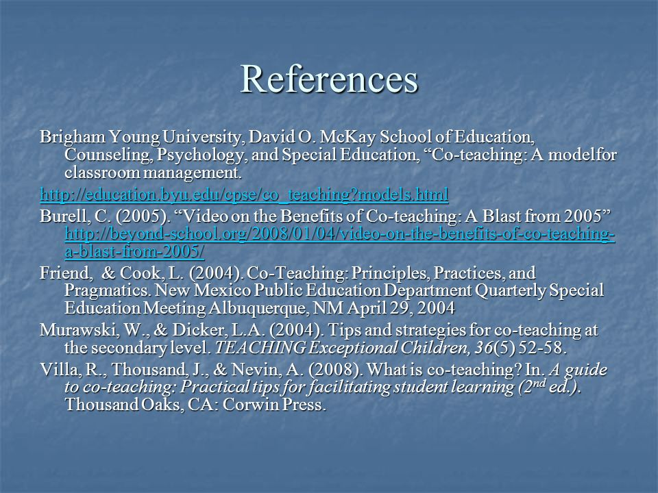 References Brigham Young University, David O.