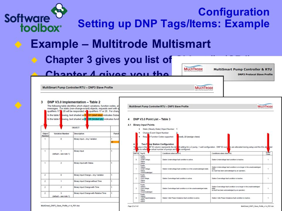" Example – Multitrode Multismart  Chapter 3 gives you list of Object #s (OBJ)  Chapter 4 gives you the IDX but they call it ""Default DNP ID""  Depe"