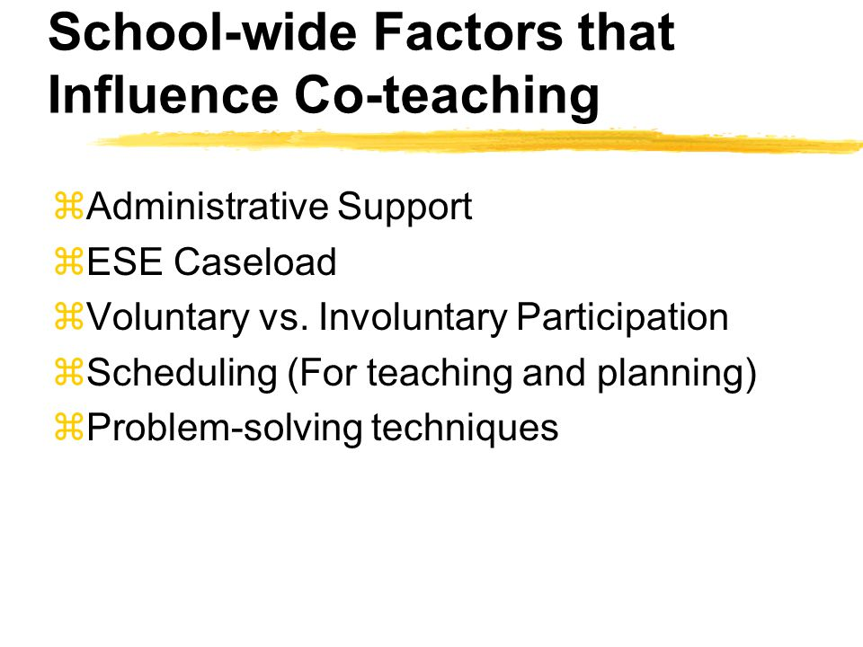 School-wide Factors that Influence Co-teaching zAdministrative Support zESE Caseload zVoluntary vs.