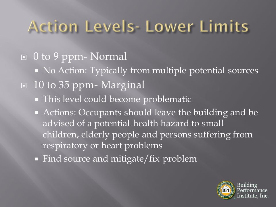  0 to 9 ppm- Normal  No Action: Typically from multiple potential sources  10 to 35 ppm- Marginal  This level could become problematic  Actions: