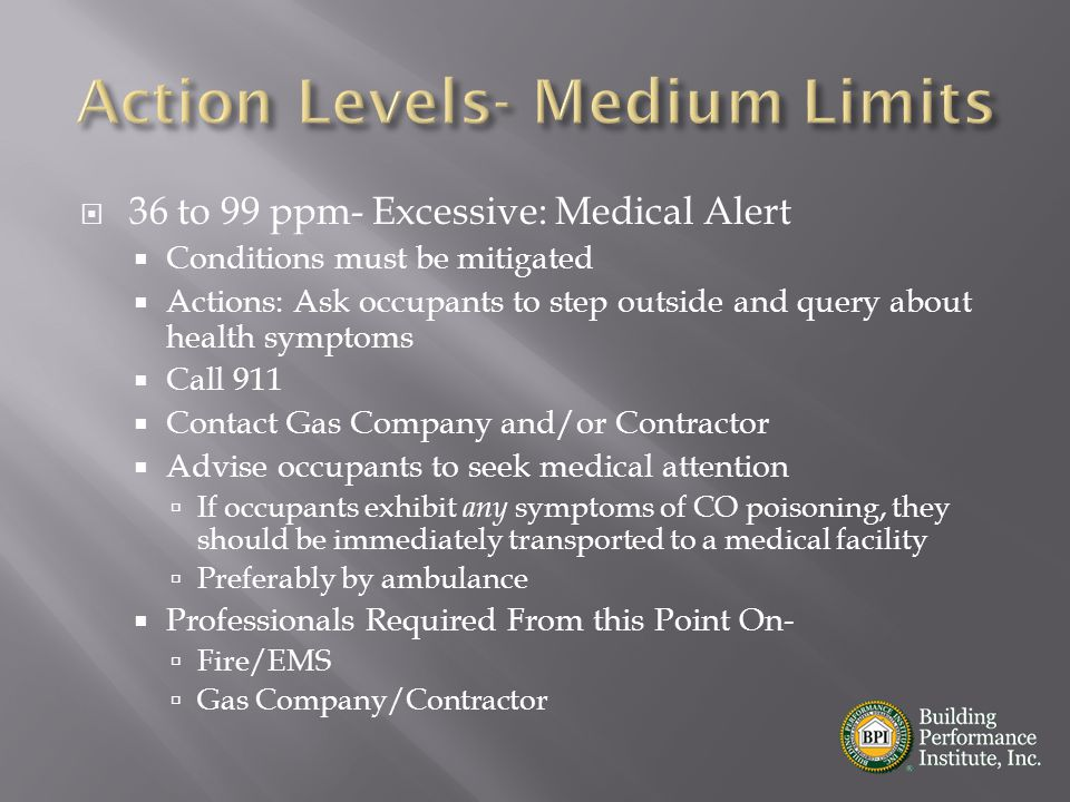  36 to 99 ppm- Excessive: Medical Alert  Conditions must be mitigated  Actions: Ask occupants to step outside and query about health symptoms  Cal