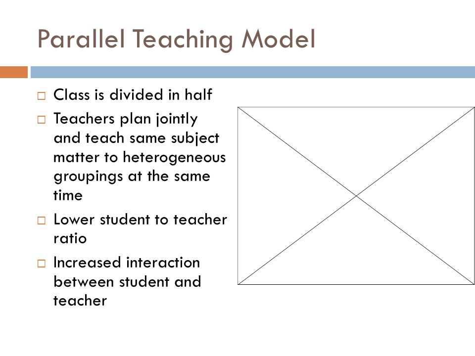 Parallel Teaching Model  Class is divided in half  Teachers plan jointly and teach same subject matter to heterogeneous groupings at the same time  Lower student to teacher ratio  Increased interaction between student and teacher