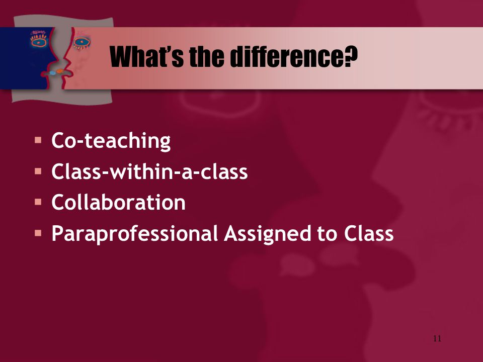 11 What's the difference?  Co-teaching  Class-within-a-class  Collaboration  Paraprofessional Assigned to Class