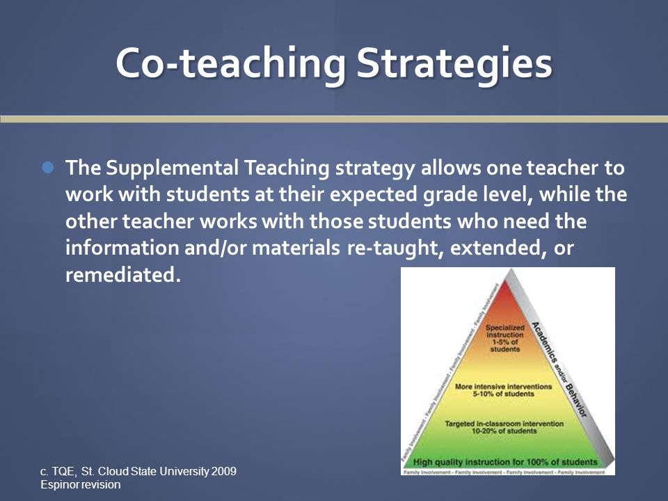 Co-teaching Strategies The Supplemental Teaching strategy allows one teacher to work with students at their expected grade level, while the other teac