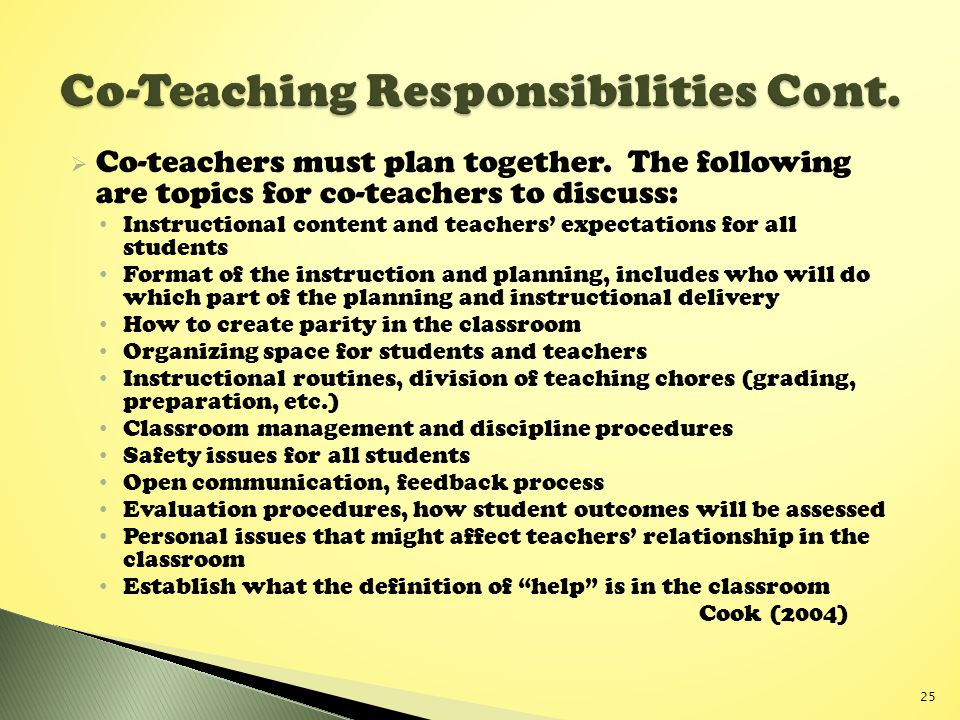  Co-teachers must plan together.